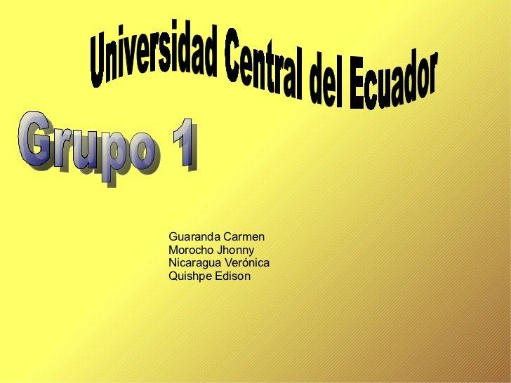 Guaranda Carmen Morocho Jhonny Nicaragua Verónica Quishpe Edison Universidad Central del Ecuador Grupo 1