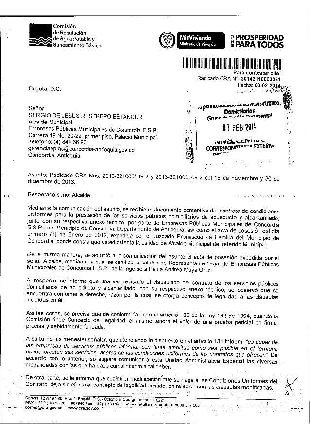 """EMPRESAS PÚBLICAS MUNICIPALES DE CONCORDIA """"E.S.P.""""  Página 2 de 45 CONTRATO DE CONDICIONES UNIFORMES SERVICIO DE ACUEDUCT..."""