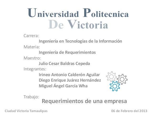 Carrera:                   Ingeniería en Tecnologías de la Información           Materia:                   Ingeniería de ...