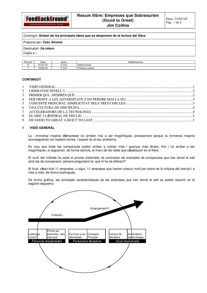 Resum llibre: Empreses que Sobresurten     FeedBackGround                                             ®                   ...