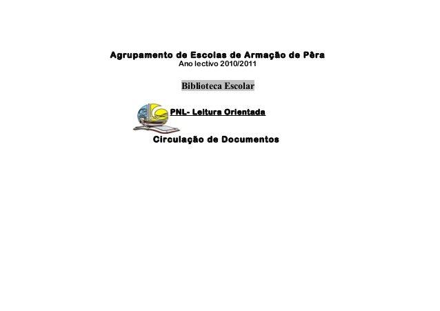 Agrupamento de Escolas de Armação de Pêra Ano lectivo 2010/2011 Biblioteca Escolar PNL- Leitura Orientada Circulação de Do...