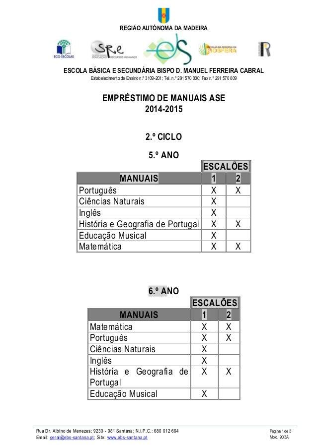 REGIÃO AUTÓNOMA DA MADEIRA  ESCOLA BÁSICA E SECUNDÁRIA BISPO D. MANUEL FERREIRA CABRAL  Estabelecimento de Ensino n.º 3109...