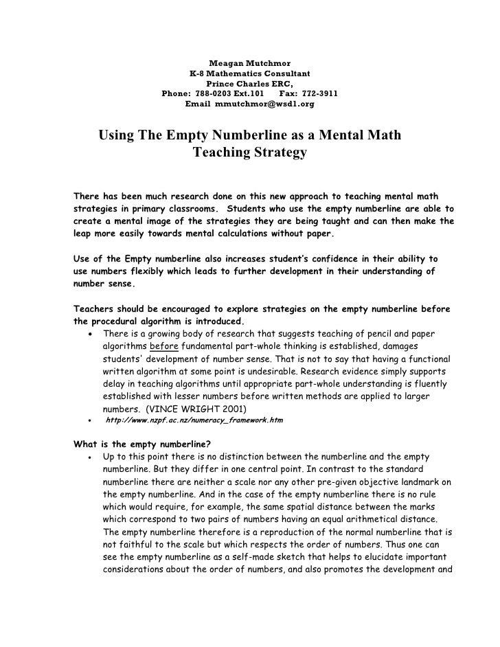 Meagan Mutchmor                            K-8 Mathematics Consultant                                Prince Charles ERC,  ...