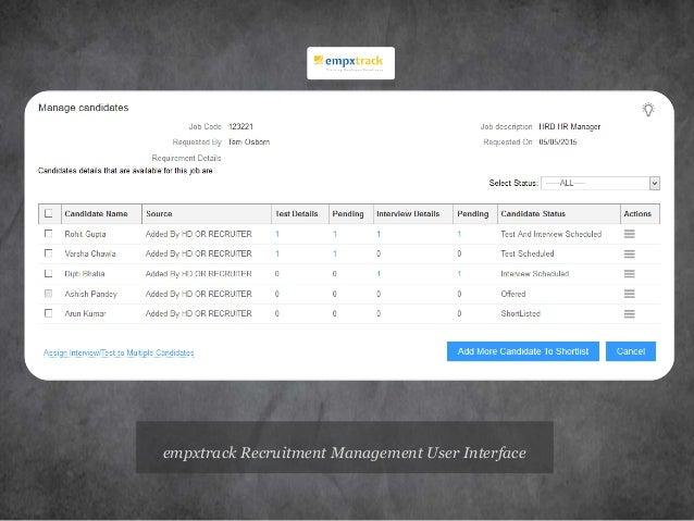 empxtrack Recruitment Management User Interface