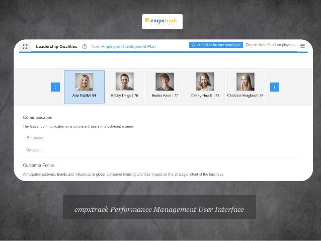 empxtrack Performance Management User Interface