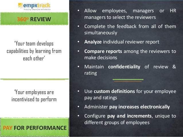 360o REVIEW • Allow employees, managers or HR managers to select the reviewers • Complete the feedback from all of them si...