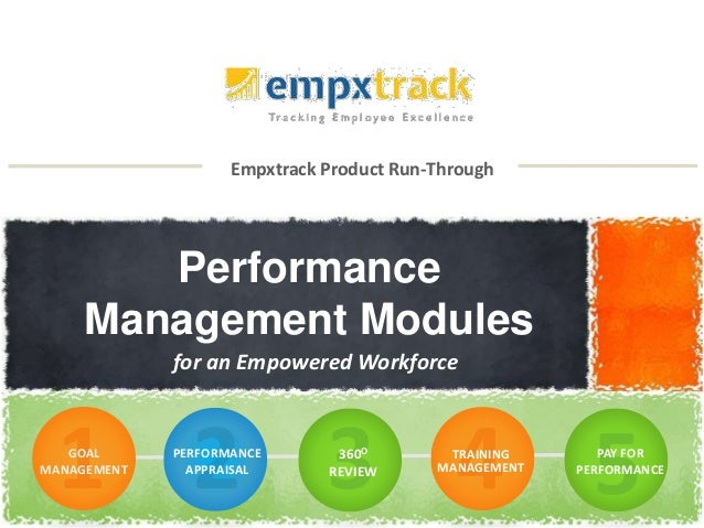 Empxtrack Product Run-Through Performance Management Modules for an Empowered Workforce GOAL MANAGEMENT PERFORMANCE APPRAI...
