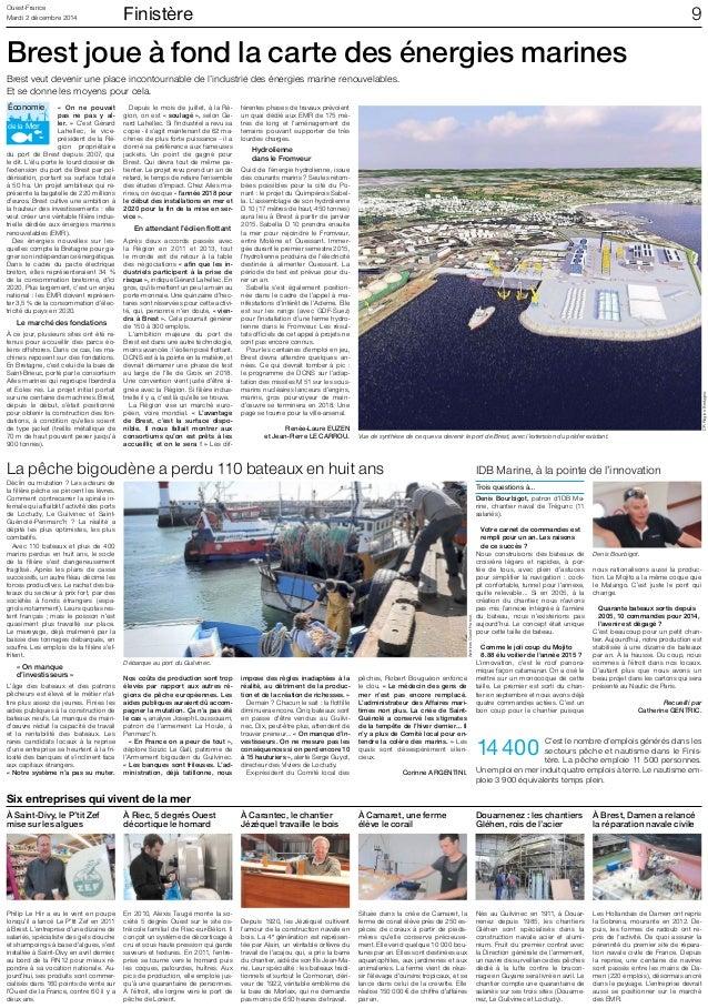 Ouest-France Finistère Mardi 2 décembre 2014  9  Brest joue à fond la carte des énergies marines  Brest veut devenir une p...