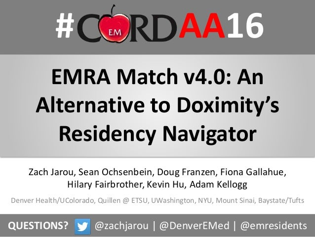 # AA16 EMRA Match v4.0: An Alternative to Doximity's Residency Navigator Denver Health/UColorado, Quillen @ ETSU, UWashing...