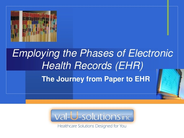 Employing the Phases of Electronic     Health Records (EHR)      The Journey from Paper to EHR