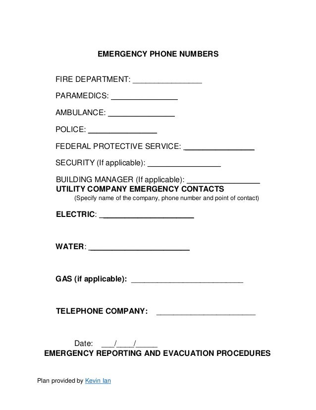 Emergency Action Plan Template – Point of Contact Template