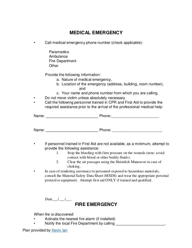 Emergency Action Plan Sample Emergency Action Plan Form In Doc