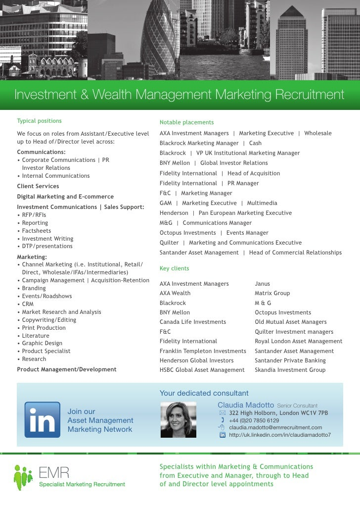 EMR Investment and Wealth Management Marketing Recruitment