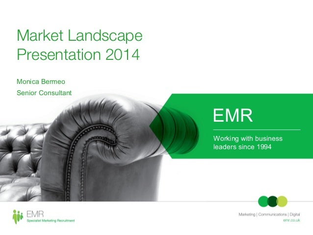 Market Landscape Presentation 2014 Monica Bermeo Senior Consultant EMR Working with business leaders since 1994