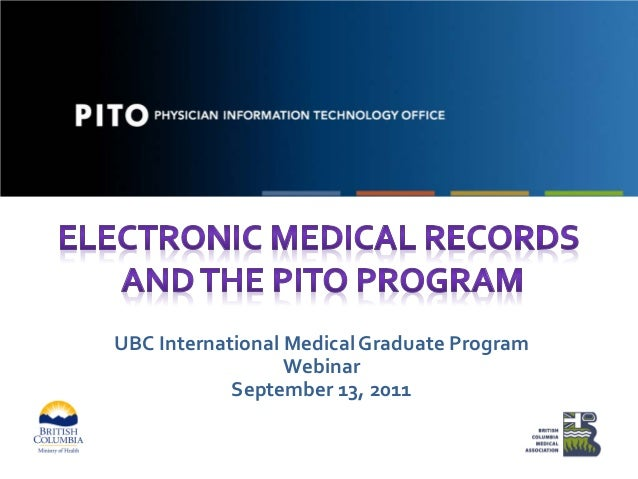 UBC International Medical Graduate Program Webinar September 13, 2011