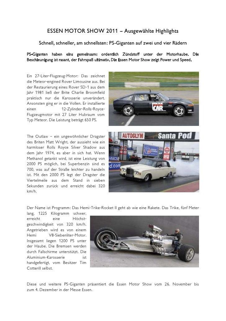 ESSEN MOTOR SHOW 2011 – Ausgewählte Highlights       Schnell, schneller, am schnellsten: PS-Giganten auf zwei und vier Räd...