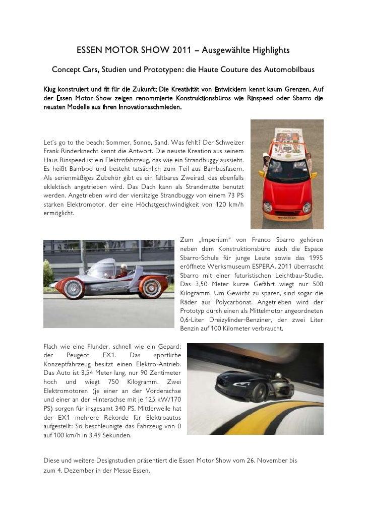 ESSEN MOTOR SHOW 2011 – Ausgewählte Highlights   Concept Cars, Studien und Prototypen: die Haute Couture des Automobilbaus...
