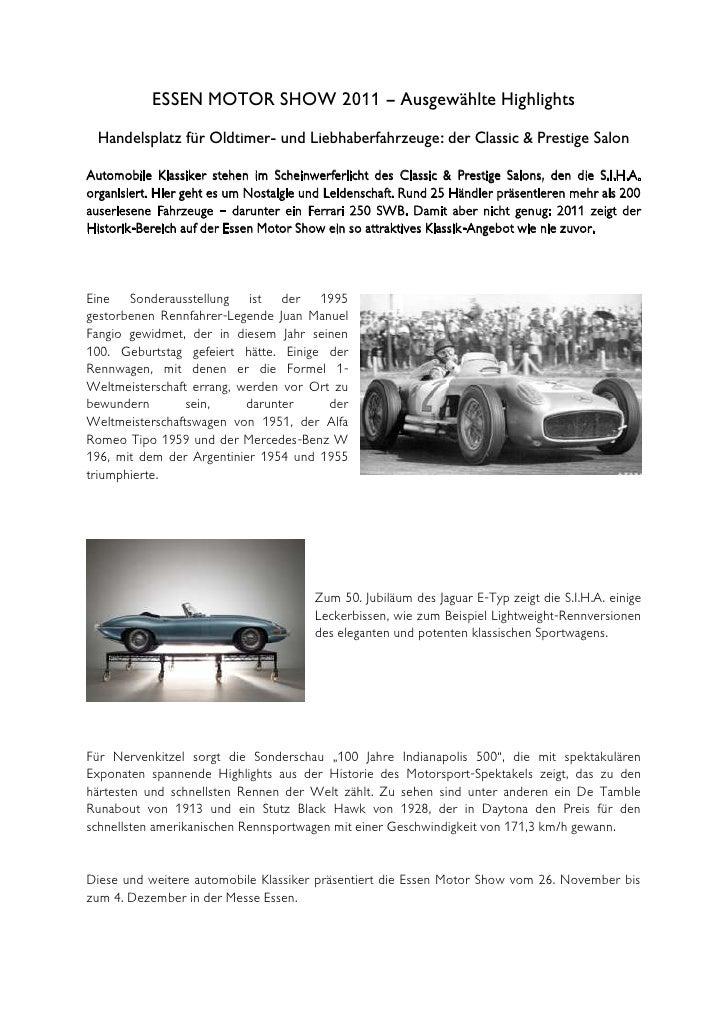 ESSEN MOTOR SHOW 2011 – Ausgewählte Highlights  Handelsplatz für Oldtimer- und Liebhaberfahrzeuge: der Classic & Prestige ...