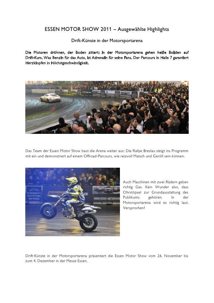ESSEN MOTOR SHOW 2011 – Ausgewählte Highlights                            Drift-Künste in der MotorsportarenaDie Motoren d...