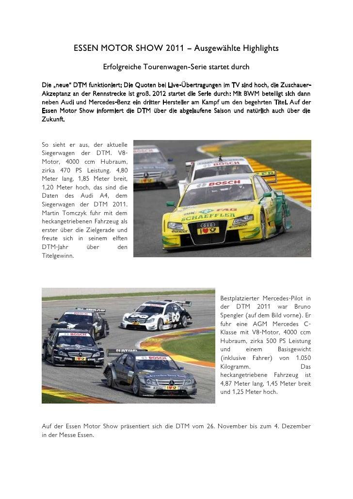 """ESSEN MOTOR SHOW 2011 – Ausgewählte Highlights                     Erfolgreiche Tourenwagen-Serie startet durchDie """"neue"""" ..."""