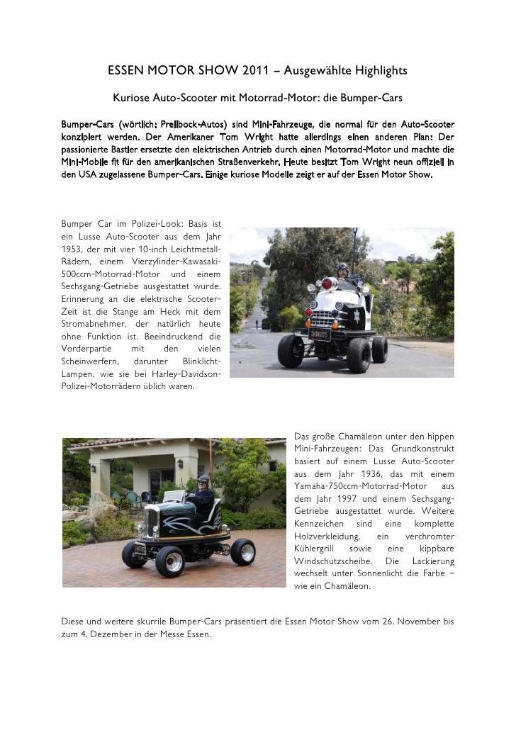 ESSEN MOTOR SHOW 2011 – Ausgewählte Highlights            Kuriose Auto-Scooter mit Motorrad-Motor: die Bumper-CarsBumper-C...