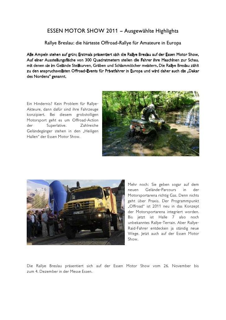 ESSEN MOTOR SHOW 2011 – Ausgewählte Highlights          Rallye Breslau: die härteste Offroad-Rallye für Amateure in Europa...