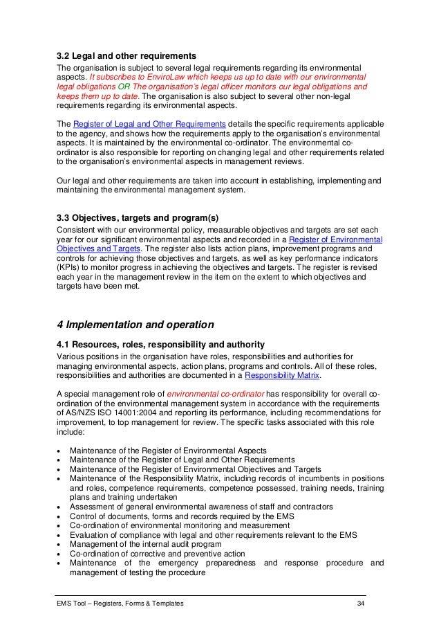 environmental aspects register template - ems tool