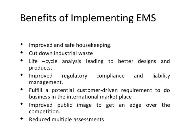 ems implementation and monitoring for riordan Transcript of implementation of ems recommendations implementation of ems recommendations: riordan manufacturing introduction environmental management systems (ems) are practices and process that an organization uses to reduce the impacts on the environments while increasing its efficiency in operations (epa, 2015)  monitor water usage at.