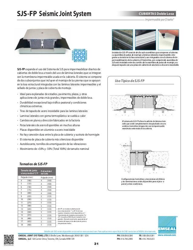 Emseal catalogo de productos juntas de dilatacion y for Junta constructiva