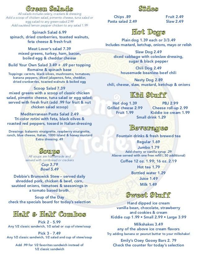 Em 39 s kitchen menu for Jordan s fish and chicken menu