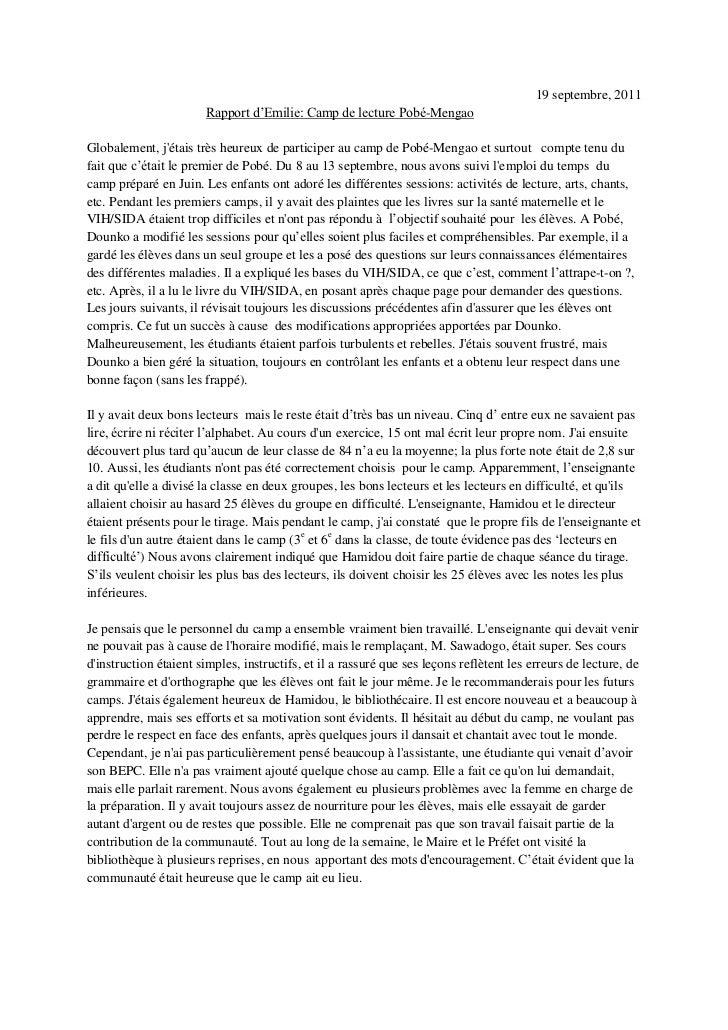19 septembre, 2011 <br />Rapport d'Emilie: Camp de lecture Pobé-Mengao <br />Globalement, j'étais très heureux de particip...