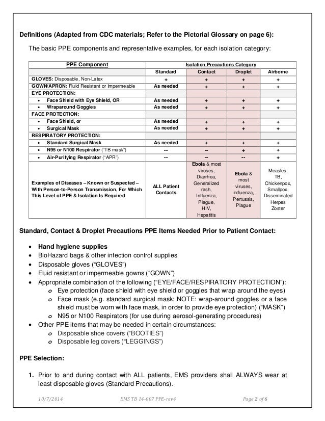 Ems tb 14 007 - Use of Medical Personal Protective Equipment