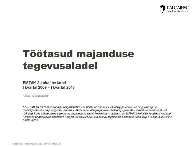 Koostanud: Palgainfo Agentuur, Tark tööandja OÜ Töötasud majanduse tegevusaladel EMTAK 2-kohaline kood I kvartal 2009 – I ...