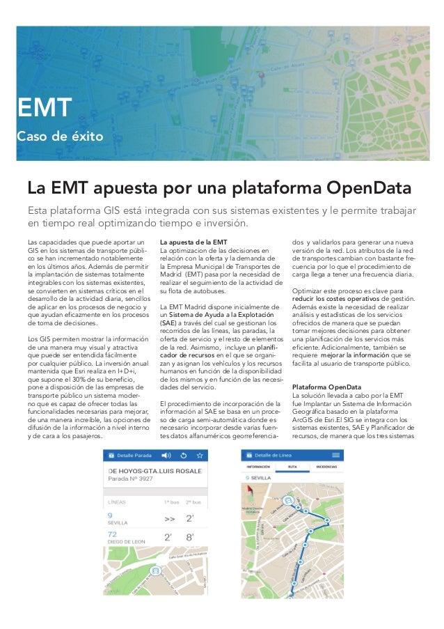 La EMT apuesta por una plataforma OpenData Esta plataforma GIS está integrada con sus sistemas existentes y le permite tra...