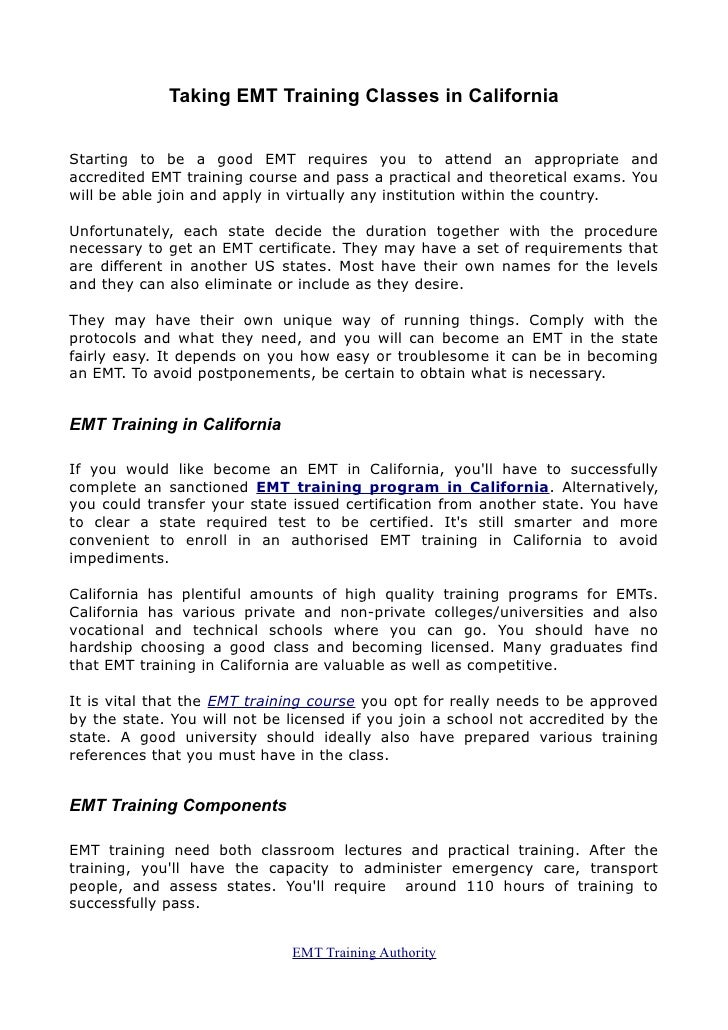 Emt Training Ca