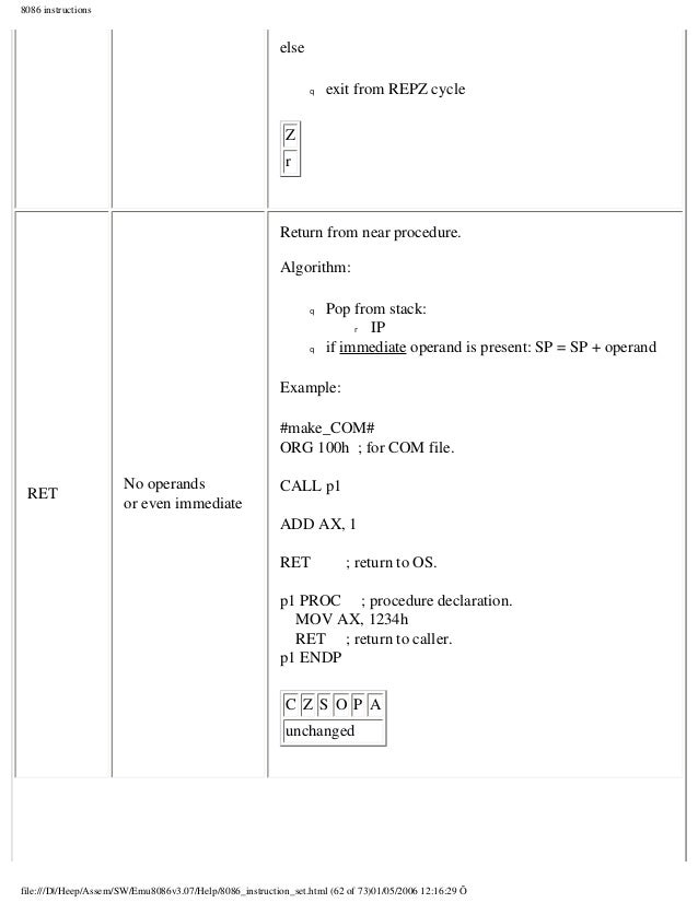 case study 80x86 instructions