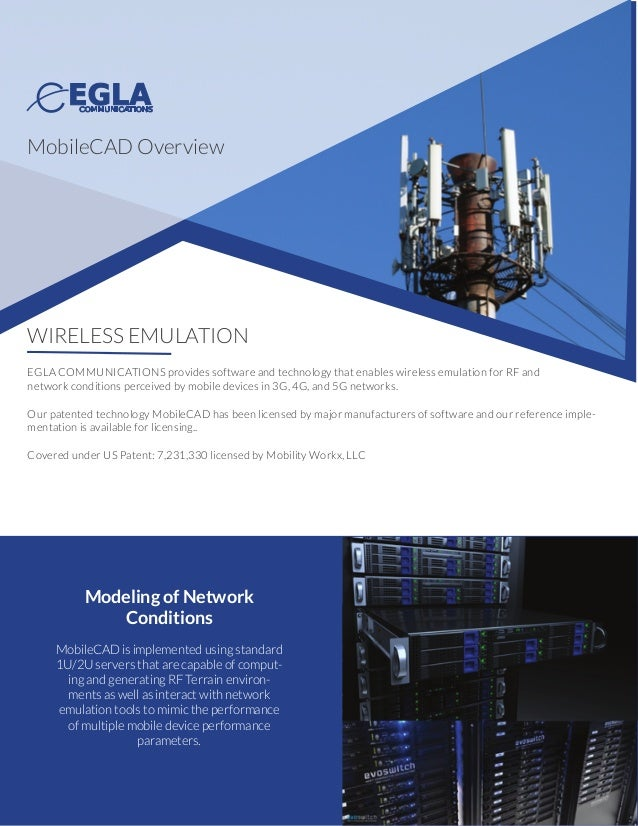 WIRELESS EMULATION EGLA COMMUNICATIONS provides software and technology that enables wireless emulation for RF and network...