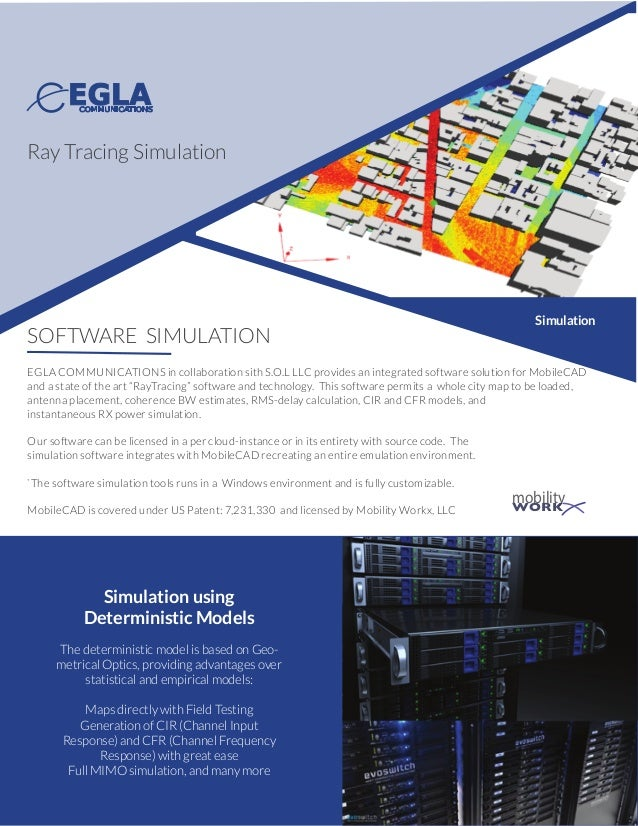 SOFTWARE SIMULATION EGLA COMMUNICATIONS in collaboration sith S.O.L LLC provides an integrated software solution for Mobil...