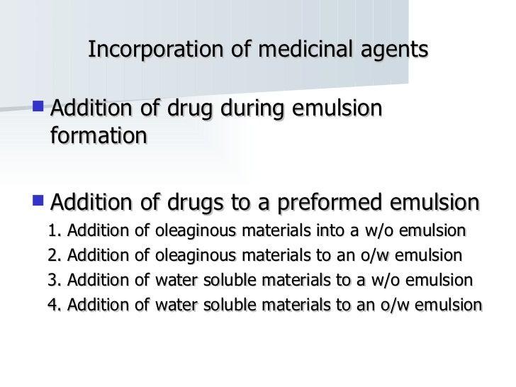 Incorporation of medicinal agents <ul><li>Addition of drug during emulsion formation </li></ul><ul><li>Addition of drugs t...