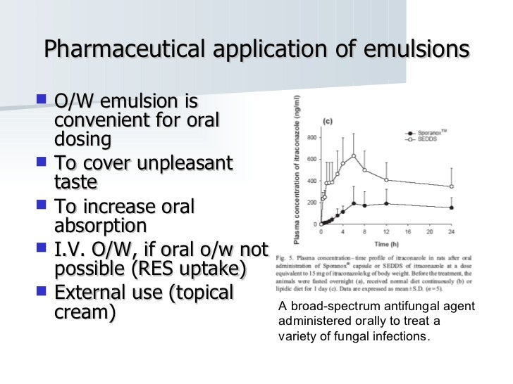 Pharmaceutical application of emulsions <ul><li>O/W emulsion is convenient for oral dosing  </li></ul><ul><li>To cover unp...