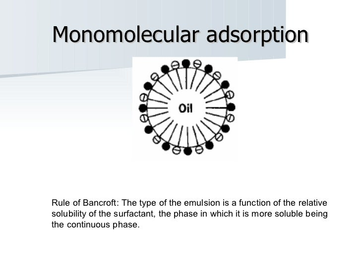 Monomolecular adsorption Rule of Bancroft: The type of the emulsion is a function of the relative solubility of the surfac...