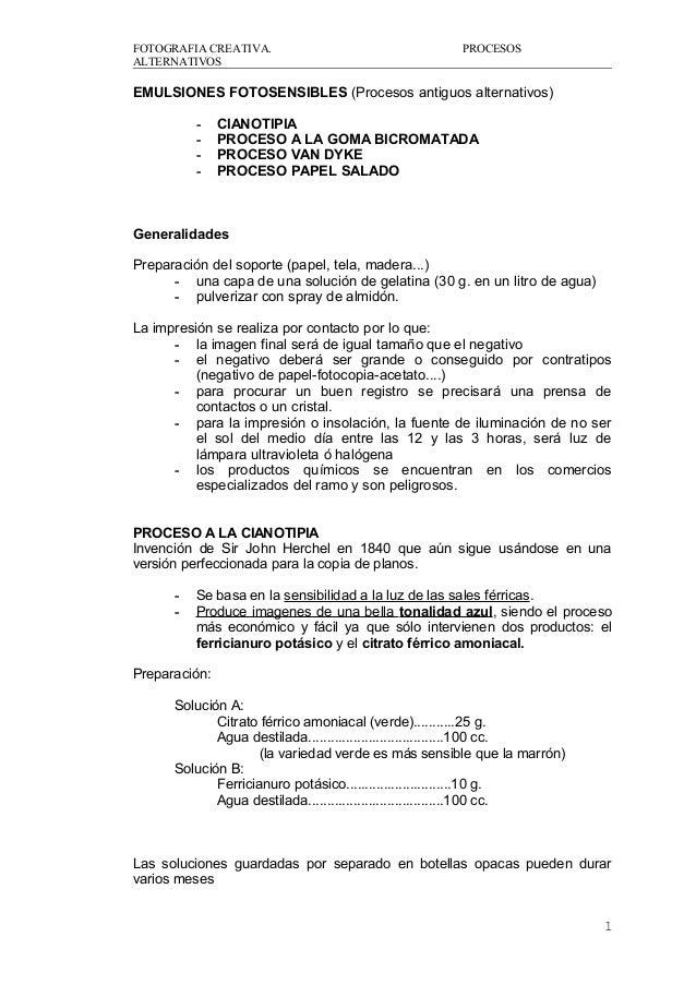 FOTOGRAFIA CREATIVA. PROCESOS ALTERNATIVOS EMULSIONES FOTOSENSIBLES (Procesos antiguos alternativos) - CIANOTIPIA - PROCES...