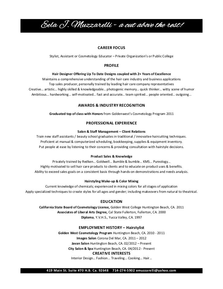 Hair Stylist Resume Sample  Cosmetology Resume Samples