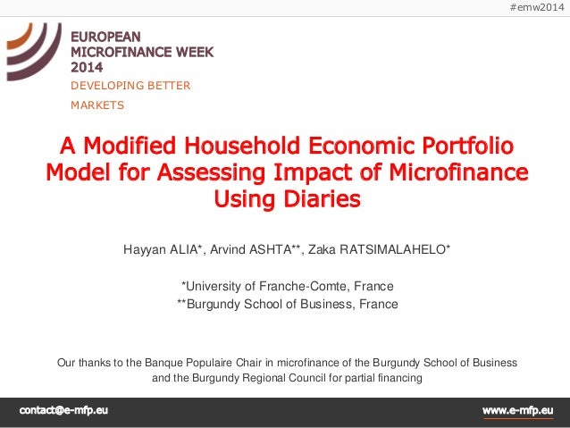 contact@e-mfp.eu  www.e-mfp.eu  #emw2014  EUROPEAN  MICROFINANCE WEEK 2014  DEVELOPING BETTER MARKETS  A Modified Househol...