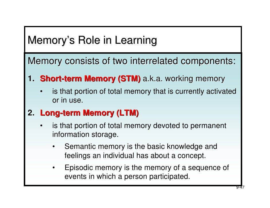 the distinct difference between short term and long term memory This results in a disconnect between short term memory and long term  that the  different memory systems in the brain, while distinct systems,.