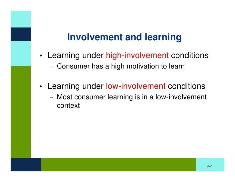 learning and consumer involvement Three theories of low-involvement consumer behavior krugman's theory of passive learning consumer behavior implications of passive learning.