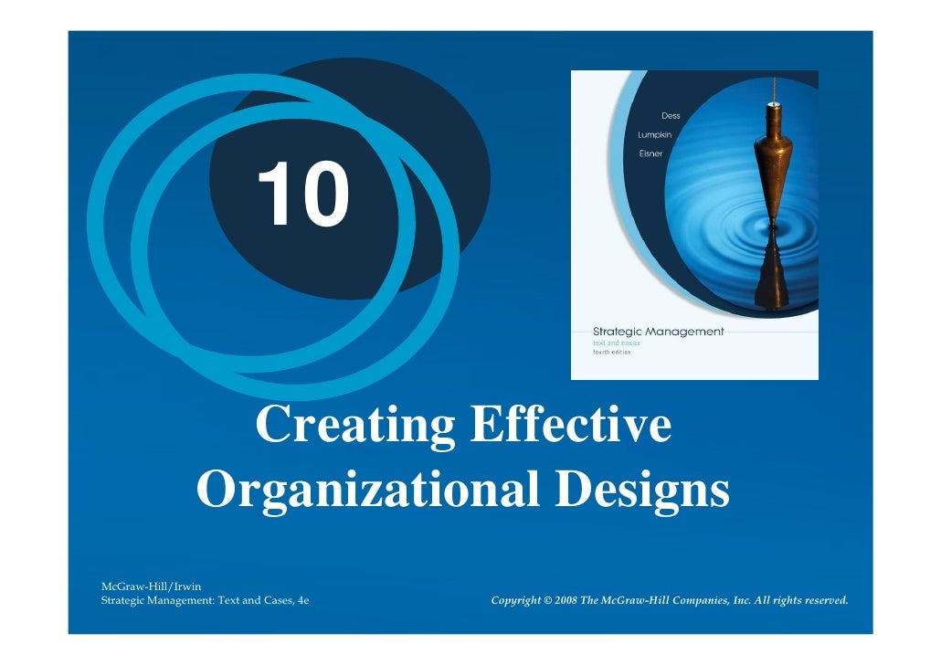 10                      Creating Effective                   Organizational Designs McGraw-Hill/Irwin Strategic Management...