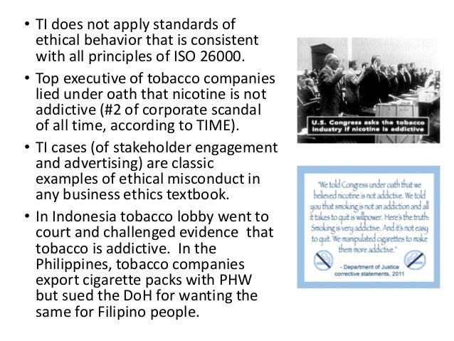 ethics of the tobacco industry essay Research project: tobacco industry – ethics v's profits students will need to research and collate information from a variety of sources on the above subject.