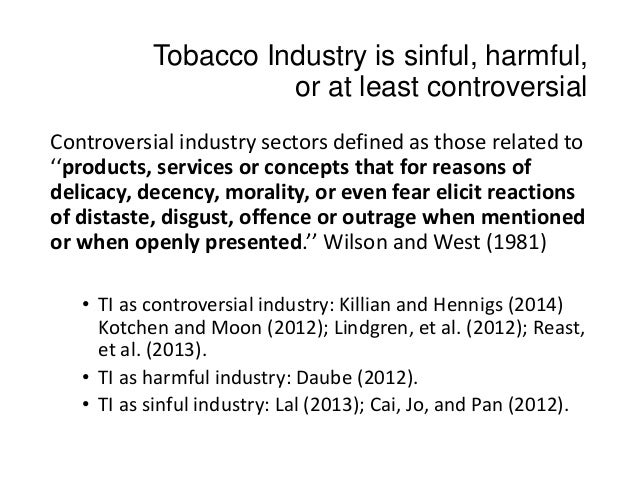 Csr in controversial industries