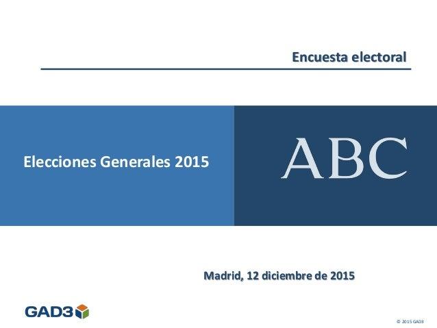 Encuesta electoral Madrid, 12 diciembre de 2015 © 2015 GAD3 Elecciones Generales 2015
